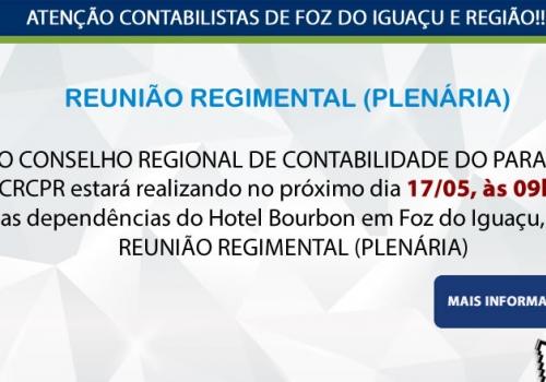 REUNIÃO REGIMENTAL (PLENÁRIA) - no próximo dia 17/05